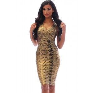 Coffee Gold Foil Midi Luxe Bandage Dress