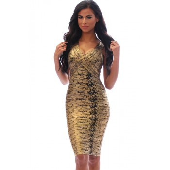 Coffee Gold Foil Midi Luxe Bandage Dress