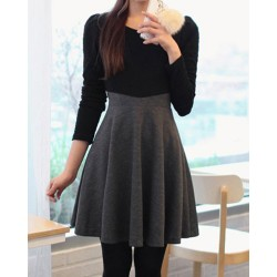 Color Block A-Line Stylish Scoop Neck Long Sleeve Women's Dress black