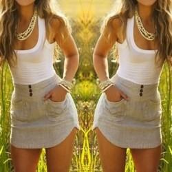 Color Block Double-Pocket Skinny Stylish Scoop Neck Sundress For Women