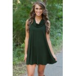 Cowl Neck Hunter Green Dress grey green