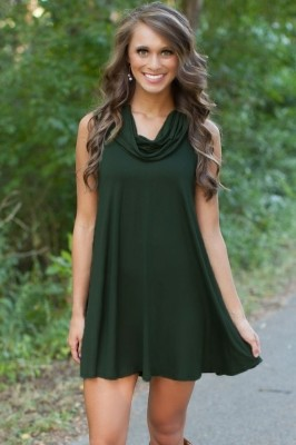 Cowl Neck Hunter Green Dress grey green