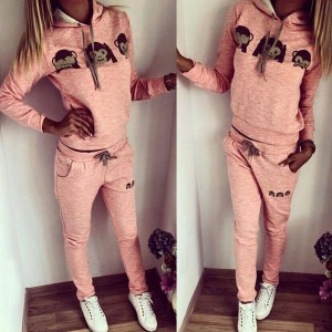 Cute Hooded Emoji Print Pullover Hoodie and Elastic Waist Pants Twinset For Women