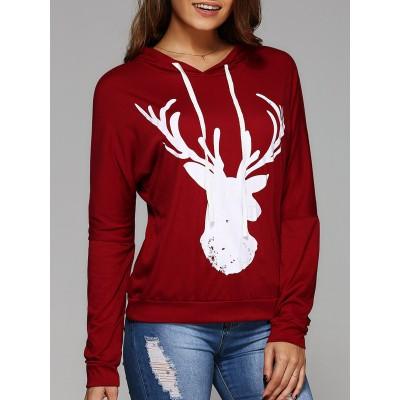 Deer Print Christmas Hooded Tee