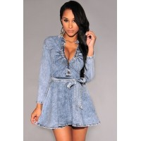 Denim Mock Neck Long Sleeves Belted Mini Dress light