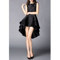 Elegant Black Round Collar High Low Hem Sleeveless Dress For Women black