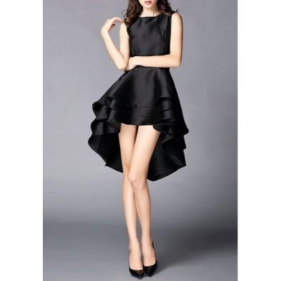 Elegant Black Round Collar High Low Hem Sleeveless Dress For Women black