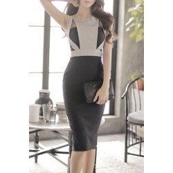 Elegant Hollow Out Scoop Neck Sleeveless Dress For Women black