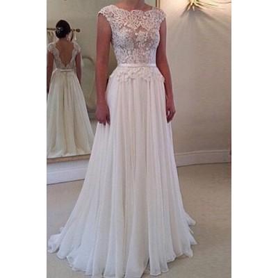 Elegant Jewel Neck Open Back Lace Embellished Dress For Women white