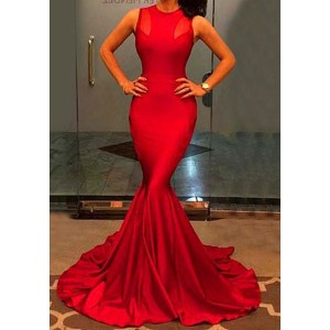 Elegant Jewl Neck Sleeveless Solid Color Bodycon Maxi Dress For Women red