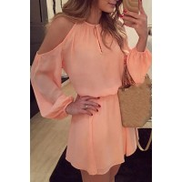 Endearing Shoulder Hollow Out Back Slit Solid Color Dress For Women pink