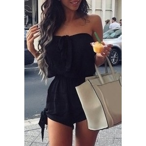 Endearing Strapless Pure Color Bowknot Elastic Waist Rompers For Women black red