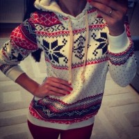 Ethnic Snowflakes Thicken Long Sleeve Stylish Hoodie For Women white