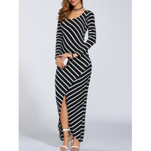 Fall Stripe Print Slit Maxi Dress