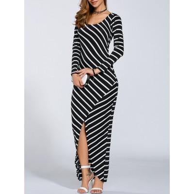 Fall Stripe Print Slit Maxi Dress