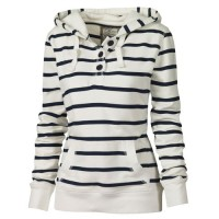 Fashionable Long Sleeves Striped Hoodie For Women stripe