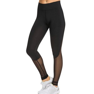 Fashionable Slimming Mesh Splicing Leggings For Women black