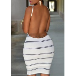 Fashionable Stripe Print Open Back Bodycon Cami Dress For Women white
