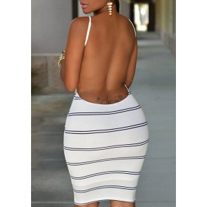Fashionable Stripe Print Open Back Bodycon Cami Dress For Women white