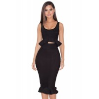 Flared Peplum Two Pieces Bandage Dress