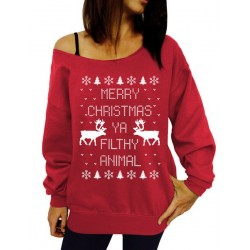 Fresh Style Letter and Snowflake Printed Pullover Christmas Sweatshirt For Women BLACK, BLUE, GRAY, GREEN, RED