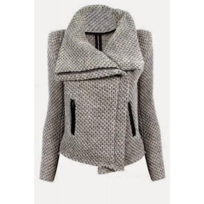 Fresh Style Turn-Down Collar Zippered Mesh Knitted Coat For Women gray
