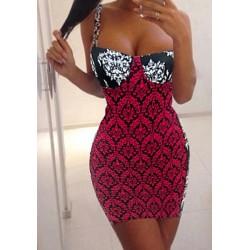 Full Print Bodycon Sexy Square Neck Sleeveless Dress For Women