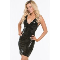 Glamours Black Sequin Bandage Dress