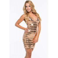 Glamours Gold Sequin Bandage Dress