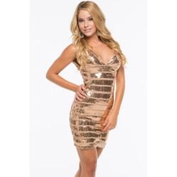 Glamours Gold Sequin Bandage Dress