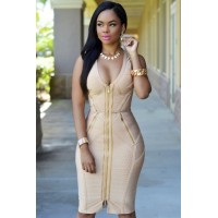 Gold Zipper Luxe Bandage Dress