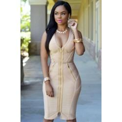 Gold Zipper Luxe Bandage Dress