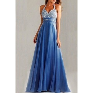 Graceful Sequined Halter Backless High Waist Pleated Prom Dress For Women