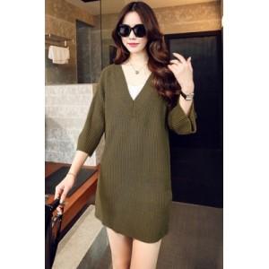Green V-Neck Ribbed Pullover Sweater Dress