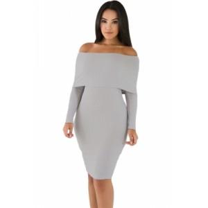 Grey Mini Knit Jersey Off Shoulder Dress