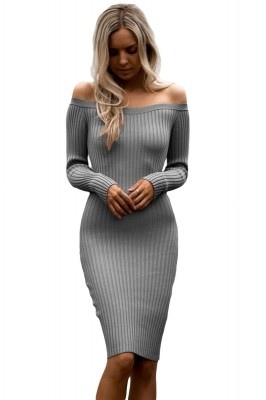 Grey Off Shoulder Long Sleeve Rib Knit Sweater Dress