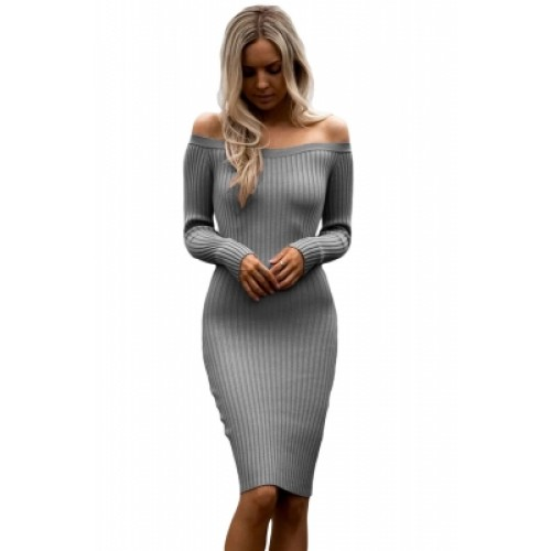 Grey Off Shoulder Long Sleeve Rib Knit Sweater Dress (Grey Off ...