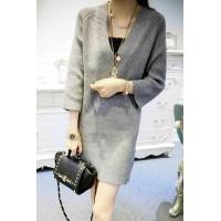 Grey V-Neck Ribbed Pullover Sweater Dress