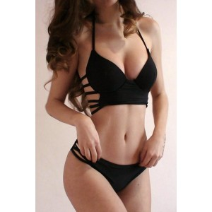 Hollow Out Design Solid Color V-Neck Halter Bikini Swimwear For Women black