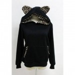 Hooded Long Sleeves Cotton Blend Sweet Style Leopard Print Hoodie For Women black