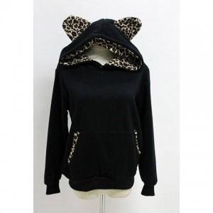 Hooded Long Sleeves Cotton Blend Sweet Style Leopard Print Hoodie For Women black