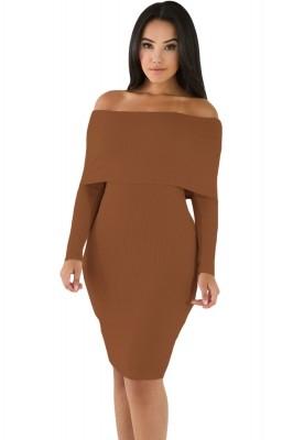 Khaki Mini Knit Jersey Off Shoulder Dress