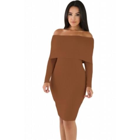 e7a3d3037c37 Khaki Mini Knit Jersey Off Shoulder Dress (Khaki Mini Knit Jersey ...