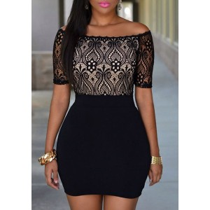 Lace Crochet Flower Spliced Sexy Slash Neck Short Sleeve Dress For Women black