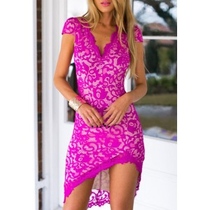 Lace Embroidered Sexy V-Neck Short Sleeve Bodycon Dress For Women