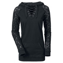Lace Splicing Lace-Up Long Sleeve Stylish Hoodie For Women black