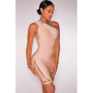 Lace up One Shoulder Bandage Dress Apricot Black White