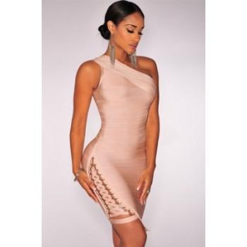 Lace up One Shoulder Bandage Dress Apricot Black White