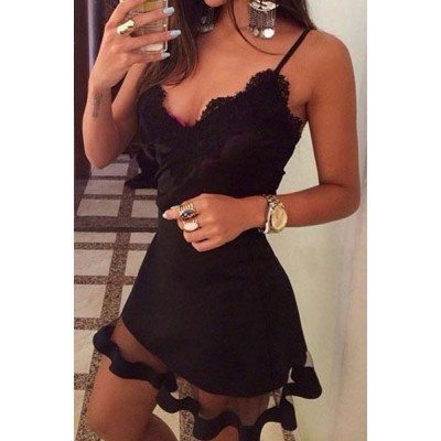 Lacework Embellished Voile Spliced Sexy Spaghetti Strap Dress For Women