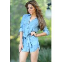 Light Blue Button Down Belted Denim Mini Dress